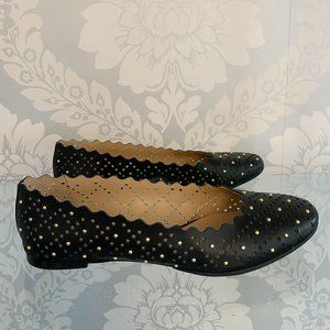 CHLOE Black Cut Out Leather Ballet Flats w/ Gold Rivet/Studded Detail